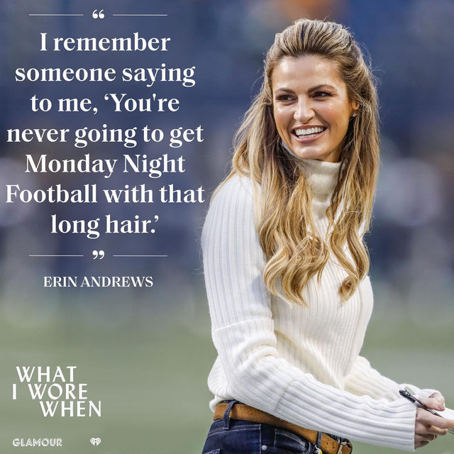 On Glamour's newest podcast 'What I Wore When,' Erin Andrews talks with Digital Director @perriesamotin about how she and her husband still laugh when they see a replay of the bright green sweater she chose to work her first big on-screen gig. Link in bio to listen and subscribe.