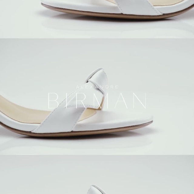 Details of the classic Clarita, that is hand-crafted from smooth leather with two signature bows. #AlexandreBirman #Sandals #Clarita