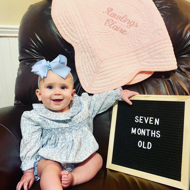 Seven months and all smiles 💙 Don't forget, our entire site is BOGO, shop your little hearts out.