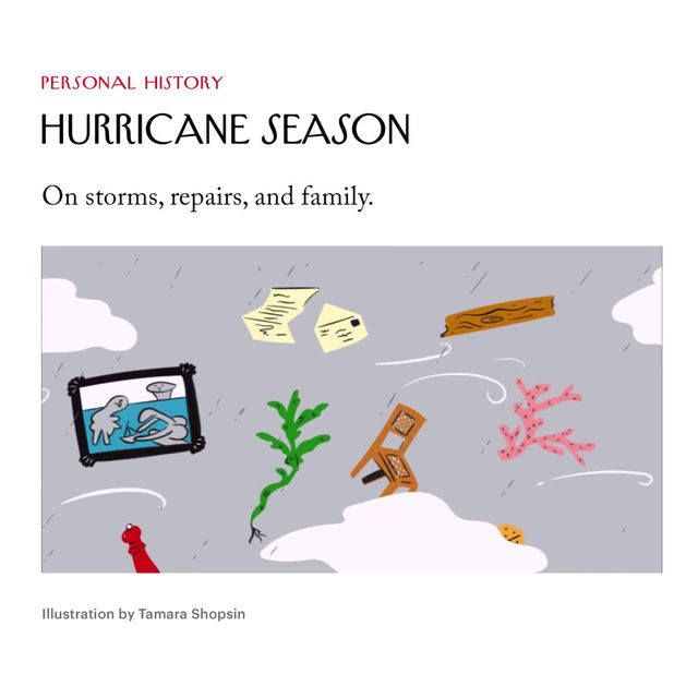 """Grow up in North Carolina and it's hard to get too attached to a beach house, knowing, as you do, that's it's on borrowed time,"" David Sedaris writes, in a new Personal History. ""If the hurricane doesn't come this autumn, it'll likely come the next. The one that claimed our place—the Sea Section—in September of 2018, was Florence. Hugh was devastated, while my only thought was: What's with the old-fashioned names? Irma, Agnes, Bertha, Floyd—they sound like finalists in a pinochle tournament. Isn't it time for Hurricanes Madison and Skylar?"" Tap the link in our bio to read Sedaris on storms, repairs, and family."