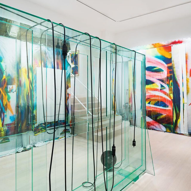 """#GrosseTrouve: Visit Gagosian, Basel, to see an exhibition of recent works by Katharina Grosse and Tatiana Trouvé before it closes this Saturday!  This is the second time that Grosse and Trouvé have exhibited together, although in this show their works are displayed side by side in unprecedented direct relation. Despite their contrasting approaches to materiality and hue—or perhaps because of them—each artist's work animates, illuminates, and adapts to the other's. Learn more via the link in our bio.  ___________ #KatharinaGrosse #TatianaTrouve #Gagosian @katharina_grosse @tatianatrouve Installation views, """"Katharina Grosse 