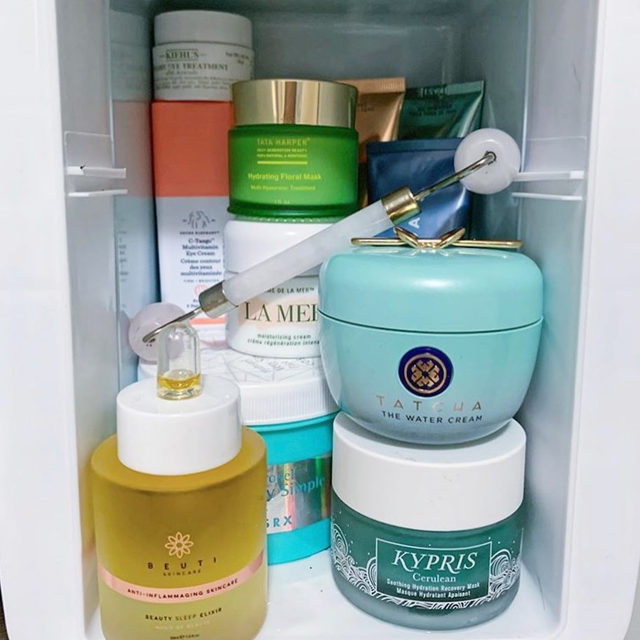 Skincare fridge fully stocked and ready to fight the #Sunday scaries 🧖🏻‍♀️✨ Link in bio for the best new #skincare products coming in December! #regram @danielleodiamar
