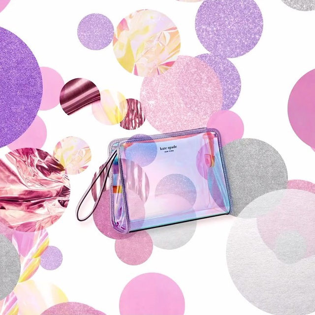 the fanciest cosmetic bag ever. (it's iridescent.) for under $100. #katespade #loveinspades