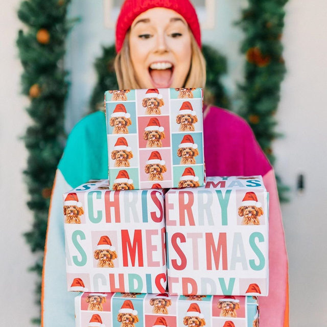 """Get ready to shop the MintedMore Days starting tomorrow. Every day until 12/9, we'll have exclusive offers on some of our favorite gifts just for members of Minted's loyalty program. Not a member yet? Tap the link in our bio to join now.🎁 #MintedMoreDays #MintedHoliday — """"Happy Lettering"""" custom wrapping paper @jessiesteury 