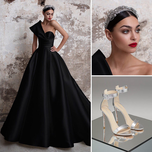 Black Carat | The most dramatic #PronoviasTotalLook: The tourmaline gown, the Segrid headband and the Sundance shoes! Link in bio to make your appointment.