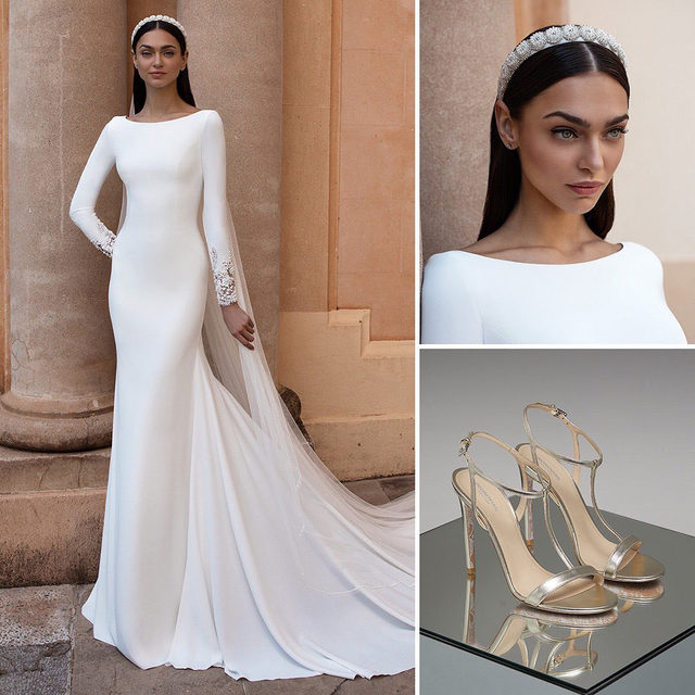 #PronoviasTotalLook | Our Bridal Stylists have spoken! This white crepe mermaid gown goes perfectly with the jeweled Senija headband and the Eden silvered sandals. Try this look on!