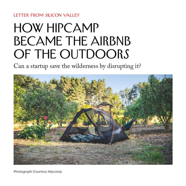 Hipcamp, a platform for campsite booking, applies the model of Airbnb to open spaces and the outdoors. The founder of Hipcamp believes the platform's appeal goes beyond outdoorsy self-care—she hopes it will catalyze long-term thinking about the environment. Tap the link in our bio to read more about how the startup hopes to create avenues toward environmental awareness.