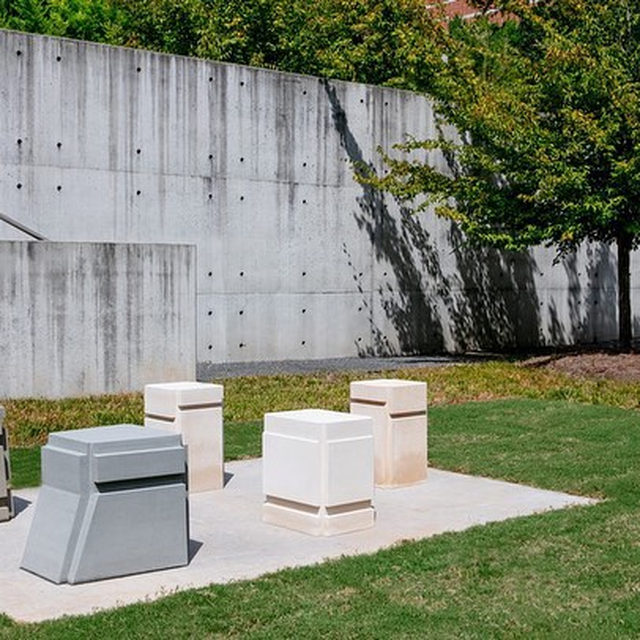 Visit Rachel Whiteread's solo exhibition at the Georgia Museum of Art at the University of Georgia in Athens, on view through March 2020!  Using various materials to articulate the negative space surrounding or contained by objects, Whiteread has elaborated various approaches to casting and impression as subject, process, and vehicle for content. In this show, the artist is exhibiting a 2010 series of five outdoor stone sculptures, cast from the voids under different chairs. Learn more via the link in our bio.  __________ #RachelWhiteread #Gagosian  Photos: @georgiamuseum