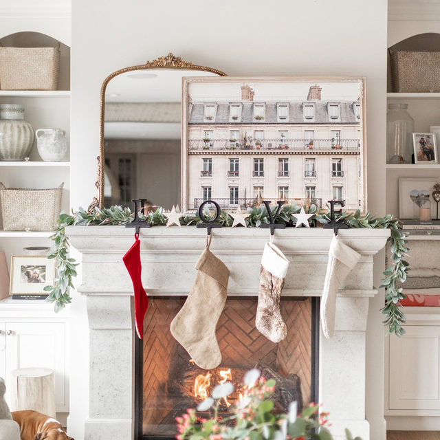 """We always look forward to seeing how @jillian.harris gets festive for the holidays and this year did not disappoint. 😍 🌲✨ #MintedHoliday — """"Days in Paris"""" #MintedArt @jc.nugent"""