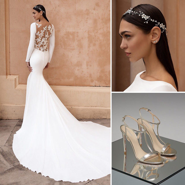#PronoviasTotalLook | Our stylists' bet: The Alauda dress combined with the Actea headpiece and the Eden shoes. Book your appointment and create your very own total look!