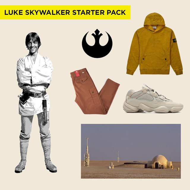 Modern Luke Skywalker would definitely be rocking a pair of Yeezys. ⚡With the release of the final episode, Star Wars: The Rise of Skywalker on the horizon, we revisited episodes I-VIII and rounded up our favorite looks from the series. Tap our link in bio to check it out.