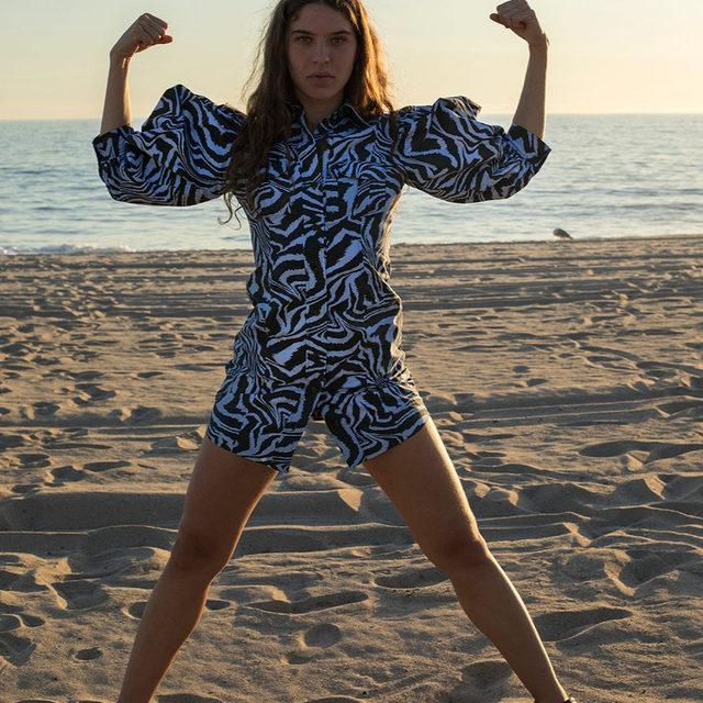 💪 Pre-Spring 20 tiger swirl balloon sleeve dress 📷Shot in LA by @clareshilland #ganni #GANNIGirls