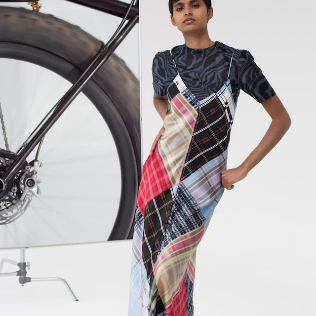 Pre-Spring 20  Patchwork silk slip dress & lurex top #ganni