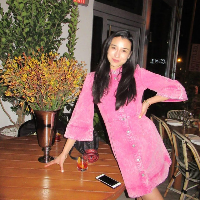 @lily_kwong in our acid wash pink dress #GANNIGirls 📷: @richieshazam