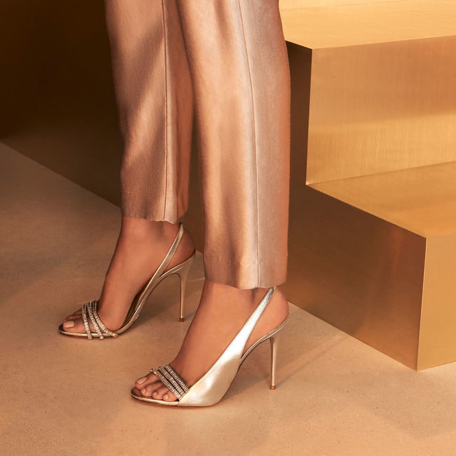 Add a sparkling touch these holidays in the Lenny sandal. #AlexandreBirman #Sandals