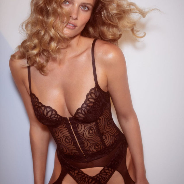 Sultry and daring sheer tulle with loop embroidery and scalloped edges | The After Dark Bustier and Thong Panty #FLLxVS