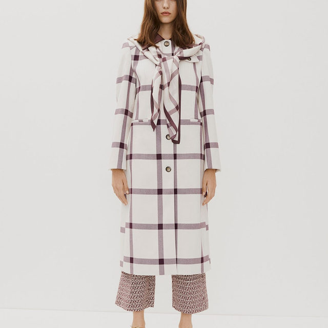 Signature house codes refreshed: the checked Desma coat and Nord trousers in BP logo print Head to our link in bio to shop now . Romance & Rituals #PS20 #BaumundPferdgarten