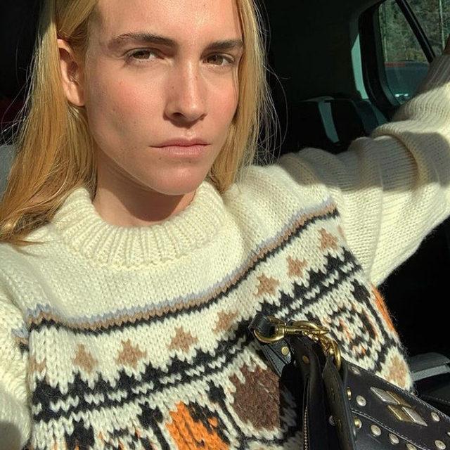 🌟@blancamiro wears our hand knit sweater #GANNIGirls #ganni
