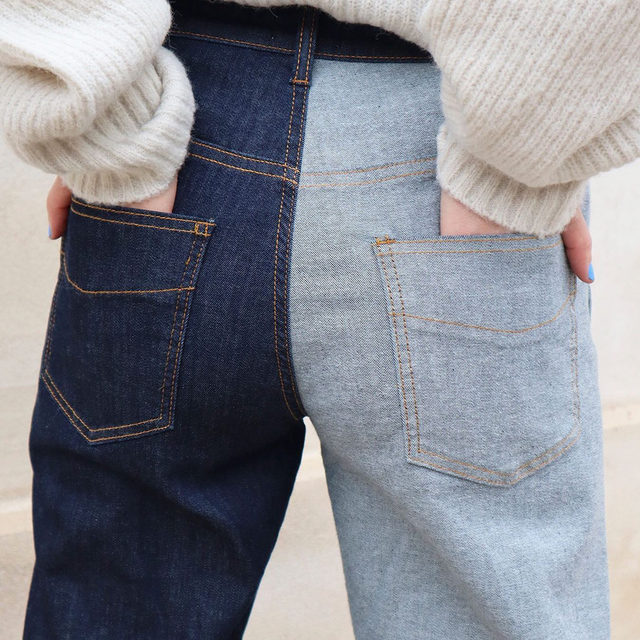 Denim obsession - the reconstructed two-tone Nadeen jeans. Shop via our link in bio . Romance & Rituals #PS20 #BaumundPferdgarten