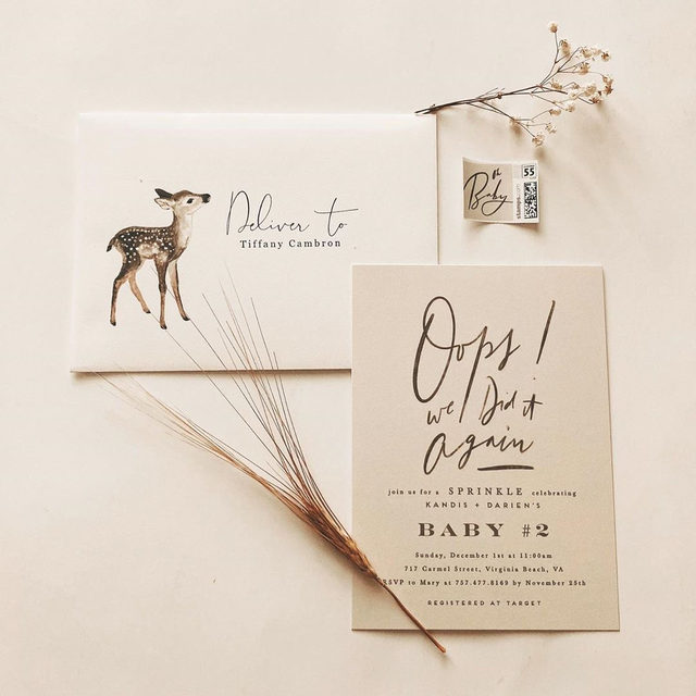 """Oops! 👶 Planning a sprinkle shower? We've got you covered. — """"Oops Again"""" sprinkle invitation @creostudy 
