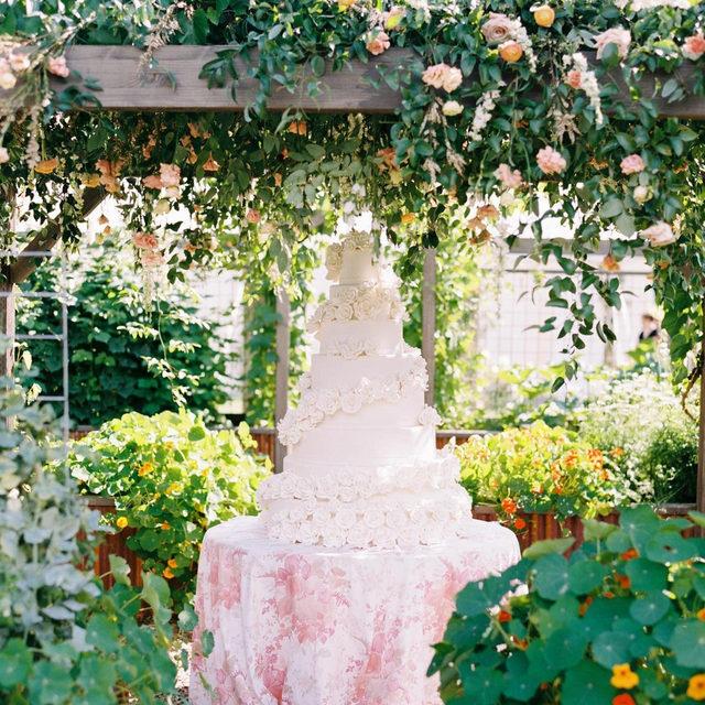 #Olivialinen in Blush set in a magical secret garden?! Yes please! 🌿🌸🌿💕 From @goldfinchevents Cake @misspatticakes1976 Photo @jeremiahandrachel #latavolalinen #transformyourtable #caketable #floralpattern #secretgarden #gardenwedding #outdoorwedding #floralsonflorals #hangingflowers #weddingcake #wedding #weddingday #gettingmarried #soloverly #gardenparty #montana #flatheadvalley #montanawedding