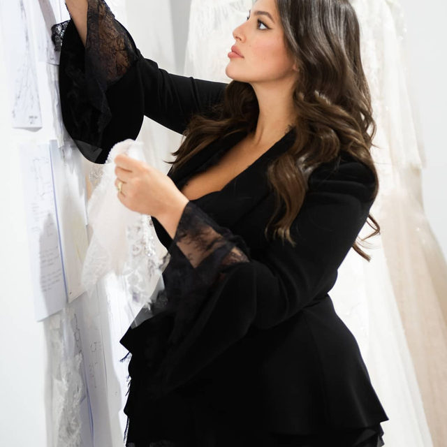 """""""When I shopped for my wedding dress ten years ago, I had difficulty finding a style in my size that fit well and made me feel special. It's necessary for the bridal industry to be an advocate for inclusivity and body diversity, and therefore I'm honored to partner with Pronovias to offer beautiful, luxurious options in many sizes and styles."""" -  @ashleygraham #AshleyGrahamXPronovias in stores March 2020"""
