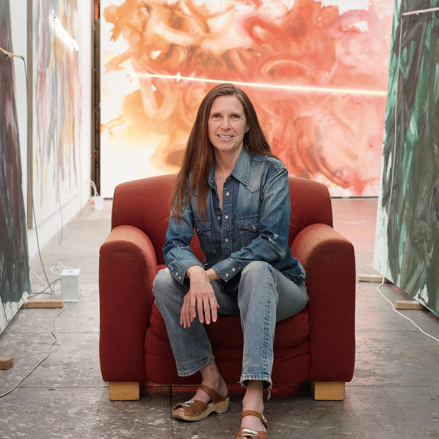 """Happy birthday to Mary Weatherford who was born on this day, January 11, in Ojai, California.  Weatherford was in conversation with Heidi Zuckerman at Spring Place in December, as part of Zuckerman's podcast """"Conversations About Art."""" Follow the link in our bio to listen to the full episode on Spotify!  __________ #MaryWeatherford #HeidiZuckerman #Gagosian Mary Weatherford in her studio, Los Angeles, July 2018. Artwork © Mary Weatherford. Photo: Fredrik Nilsen Studio"""