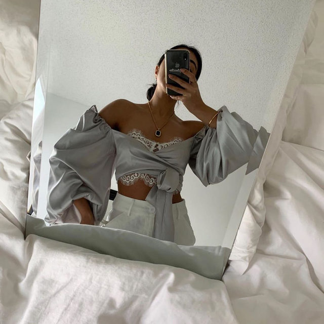 The puffier the sleeve, the more to love | Dream girl @mobinapeiman in the Argent Wrap Blouse #GIRLSinLOVE