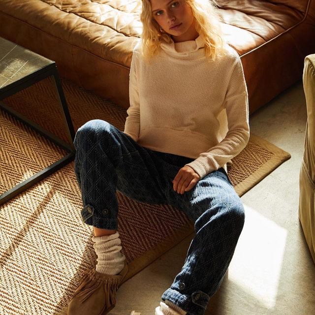 Think 'cozy' in the Sashiko Jean.