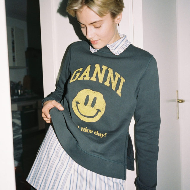 @sofielandvik  in our Isoli sweatshirt and pin stripe shirt Shot by her brother @jakobland + GANNI EXCLUSIVE +