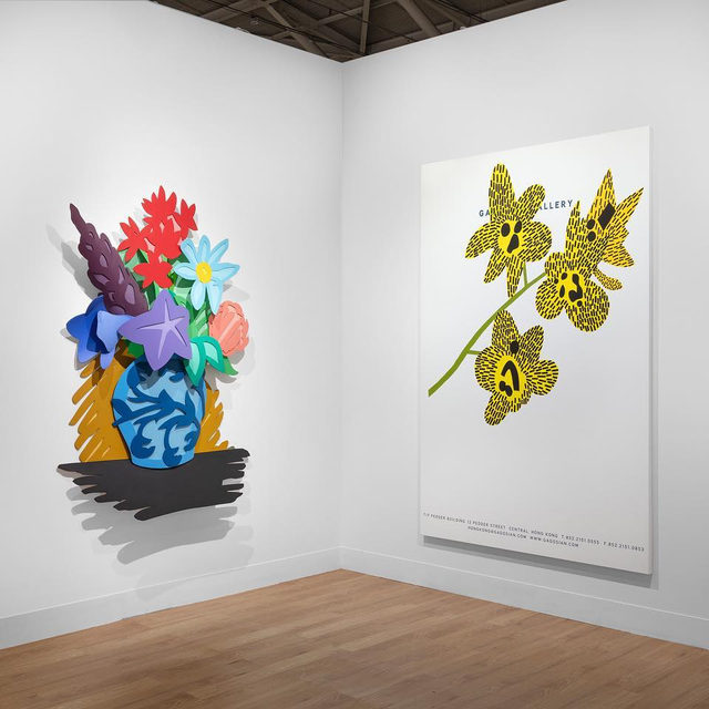 """#TaipeiDangdai: The fair is now open at the Taipei Nangang Exhibition Center. Stop by Gagosian's booth (E20) to see a selection of modern and contemporary artworks.  On view are works by Georg Baselitz, John Currin, Edmund de Waal, Urs Fischer, Katharina Grosse, Damien Hirst, Robert Indiana, John Mason, Takashi Murakami, Takashi Murakami & Virgil Abloh, Albert Oehlen, Nam June Paik, Steven Parrino, Richard Prince, Ed Ruscha, Spencer Sweeney, Tom Wesselmann, and Jonas Wood, among others.  To receive a PDF with detailed information on the works, please contact the gallery at inquire@gagosian.com or via direct message.  __________ #Gagosian @taipeidangdai Installation views, Gagosian at """"Taipei Dangdai 2020,"""" booth E20, Taipei Nangang Exhibition Center, January 17–19, 2020. Artwork © Artists and Estates.Photos: Sebastiano Pellion di Persano"""