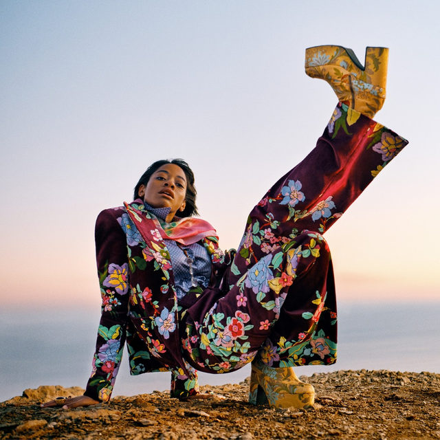 """Taking the vigor of her synth-heavy electro-pop sound on the road, the 29-year-old recording and visual artist Lakisha Robinson—better known as @kilokish—is embarking on an 18-date tour alongside @kingprincess69. After the release of her 2019 EP, Redux, she had withdrawn to her home in L.A. to """"actually practice instruments, rehearse my show, work on costuming."""" (Robinson wears many hats while on the road: """"I come up with all the ideas, and then I'm like, Oh, well, I guess I'll just build them myself."""") Tap the link in our bio to meet more of 2020's rising stars, photographed in the season's grooviest looks. Photographed by @ryanmcginleystudios, styled by @tonnegood, Vogue, February 2020"""