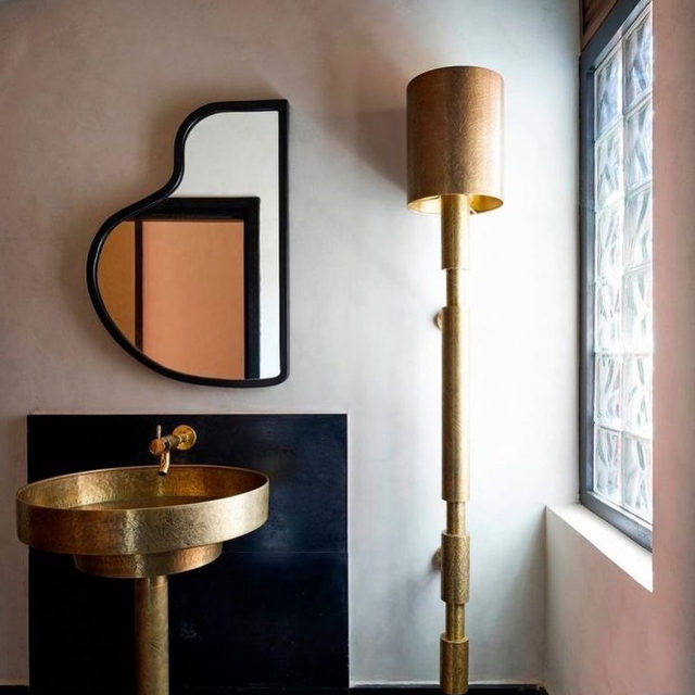 Oddly-shaped bathroom mirrors >>> regram @auguri_auguri 💿 Check out some unconventional vanity sinks to match 👉 link in bio