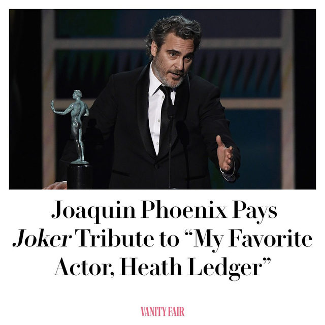 Joaquin Phoenix gave a dynamite speech during tonight's #SAGAwards that paid homage to his fellow nominees, and late 'Dark Knight' star Heath Ledger. Full feel-good story at the link in bio.