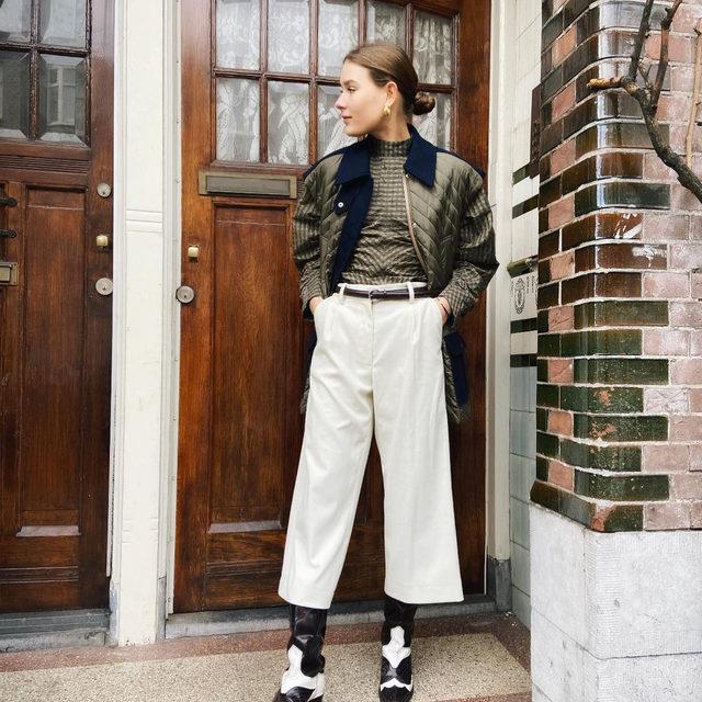 @veravanerp wears our quilted ripstop jacket, seersucker blouse & cowboy boots #GANNIGirls #ganni