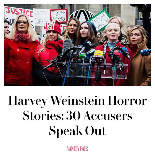 """""""Plain and simple, he's from the animal kingdom:"""" In an oral history of Harvey Weinstein and his enablers, 30 women (including one who is coming forward for the first time since being sexually assaulted by Weinstein when she was 16) speak to V.F. in hopes of rewriting the narrative—not just for the man who preyed on them, but for the broader network that aided and abetted him. Read more at the link in bio."""