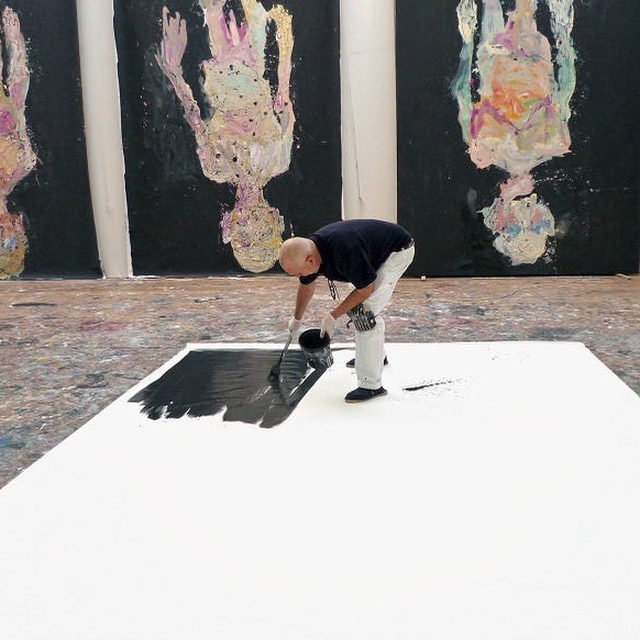 """""""This idea of 'looking toward the future' is nonsense. I realized that simply going backwards is better. You stand in the rear of the train—looking at the tracks flying back below—or you stand at the stern of a boat and look back—looking back at what's gone."""" —Georg Baselitz  Happy birthday to Georg Baselitz who was born on this day, January 23, in Deutschbaselitz, Saxony, Germany.  An exhibition of new work by Baselitz, """"What if...,"""" opens at Gagosian, San Francisco, on March 12. Keep an eye on our feed for more info.  __________ #GeorgBaselitz #Gagosian  Baselitz in his studio working on """"Avignon"""" (2014), Ammersee, Germany, 2014. Artwork: © Georg Baselitz. Photo: Elke Baselitz/© Elke Baselitz 2020"""