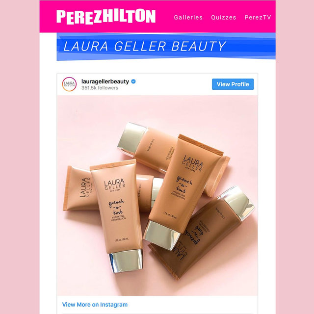 Bye bye, dry spells 👋  Quench-n-Tint hydrating foundation is here to save your skin. Thanks for the love @perezhilton . . . #lauragellerbeauty #laurageller #foundationmatch #hydratedskin #skincare101 #tintedmoisturizer