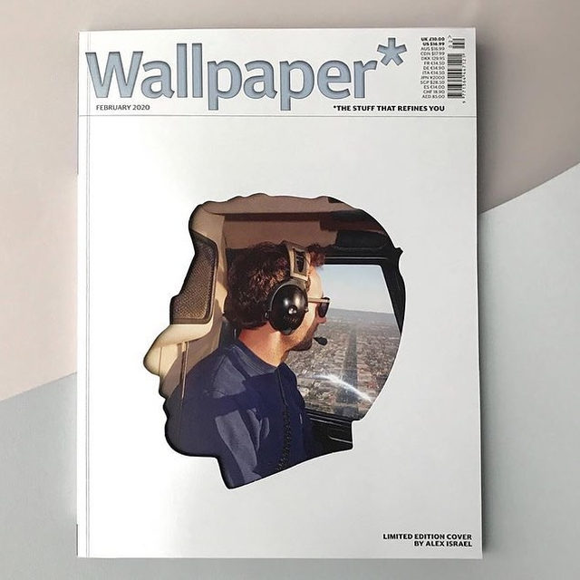 """#AlexIsrael: Wallpaper*'s February issue presents a limited-edition cover by Alex Israel, who was chosen as one of the judges for the magazine's Design Awards 2020.  The cover design, featuring a die-cut hole in the shape of the artist's profile, references Israel's """"Self-Portraits,"""" a series of paintings on shaped fiberglass panels. Theseworks examine the myth of the American West and an expanded idea of entertainment—two parallel narratives interwoven in the fabric of Israel's hometown that also continue to inflect our culture at large. An exhibition presenting new """"Self-Portraits"""" is currently on view at Gagosian, Grosvenor Hill, London.  Follow the link in our bio to read Wallpaper*'s recent interview with Israel.  __________ #Wallpaper #WallpaperDesignAwards2020 #Gagosian @wallpapermag @alexisrael #Repost: @sarah_c_douglas"""