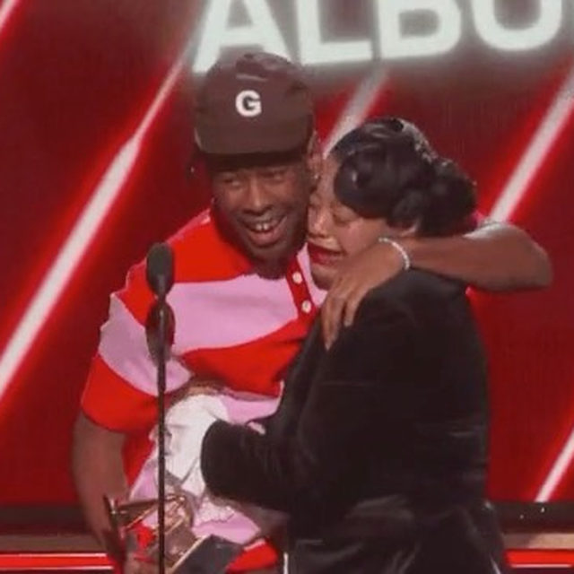 Tyler The Creator won for #BestRapAlbum at the #Grammys, but his mom won for best reaction when he literally had to pull her off of him to give his speech. 😂 Anyone else's mom? 🙋🏻‍♀️(📷: Getty Images)