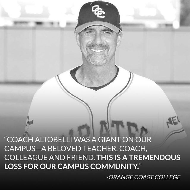 It's been reported that longtime college baseball coach John Altobelli, his wife Keri and their daughter Alyssa were among the casualties in Kobe Bryant's helicopter crash. Tributes are pouring in. 💔 (📷: Orange Coast College)