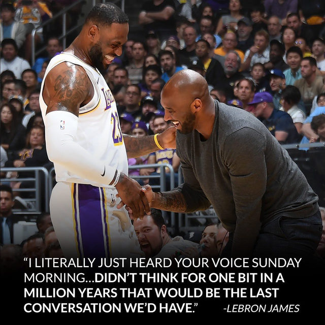 "From one Laker to another, LeBron James will always have love for his ""big bro."" Link in bio for LeBron's emotional tribute to Kobe Bryant and how he plans to carry on his legacy for Laker Nation. #TwentyFourever (📷: Getty)"