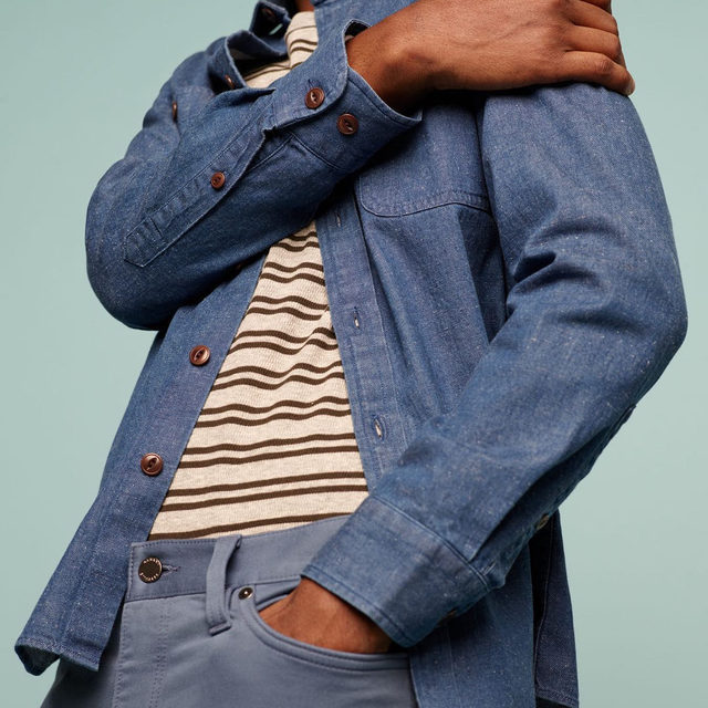 Soft cotton meets durable hemp to add texture and rich color to this denim shirt jacket.
