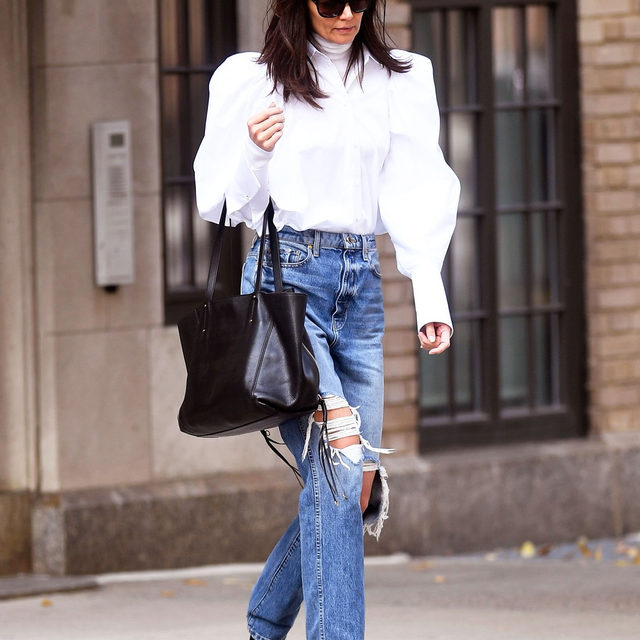 Puffy sleeves—celebs love them, and so do we. From Katie Holmes to Kendall Jenner, tap our link for the most stylish ways to take the pretty trend into spring. photo: backgrid