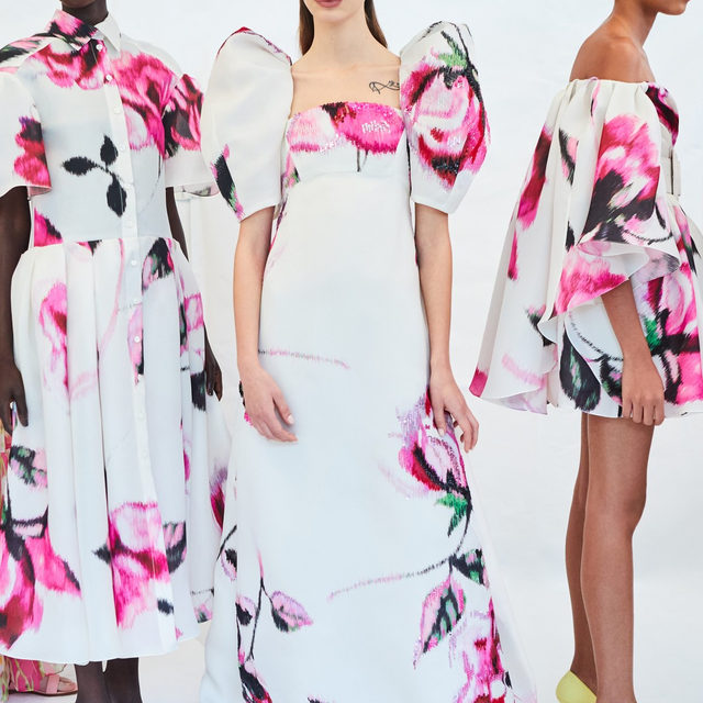 Graphic blossoms in bloom behind the scenes from the Spring 2020 collection by creative director @wesgordon. #EraofHerrera