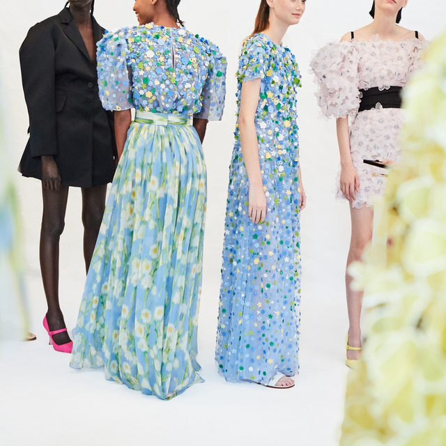 Floral-embroidered beauties with an edge, captured behind the scenes from the Spring 2020 collection by creative director @wesgordon. #EraofHerrera
