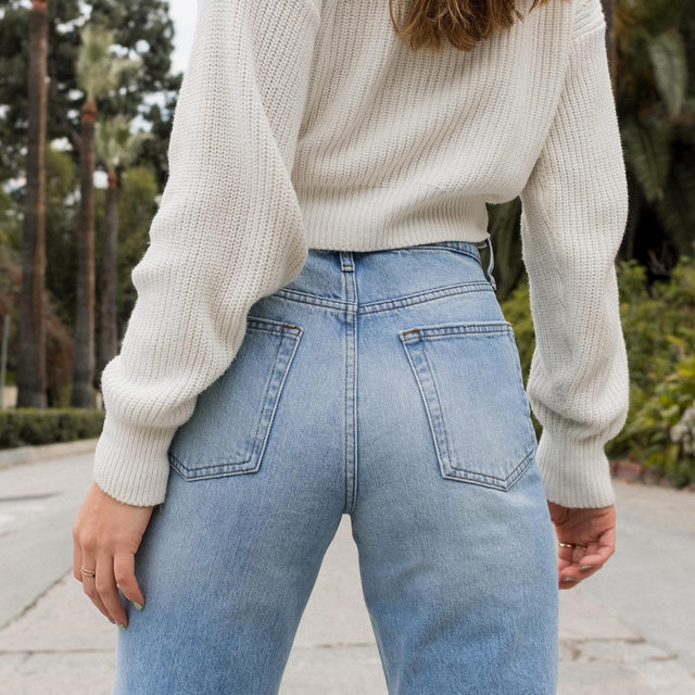 When the light wash is just right: @caitlinmiyako in the High Waisted Slim Straight jean. Link in bio to shop! #BDG365