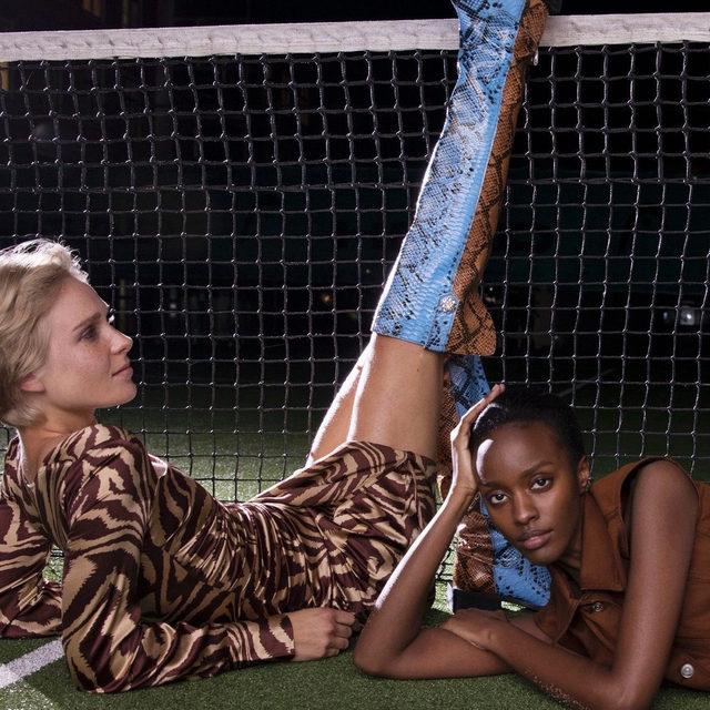 SS20 new season Tiger print silk stretch satin dress & MC over-the-knee boots #GANNIGirls #GANNIDOUBLELOVE