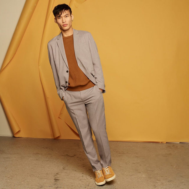 We're definitely leaning into suiting. Swap the tie out for a cool sweatshirt for a look that wins.