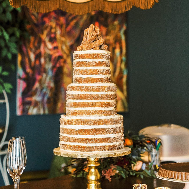 Behold the most beautiful and mouthwatering wedding cake we've ever seen: the CHURRO cake. ✨✨ You'd think this was the most genius wedding detail at this Georgia party, but nope... this former @brides editor pulled out all the stops. We're talking decor inspired by @anthropologie, a first dance-turned-flash mob, and wedding flowers we're still dreaming about. 🌼 Head to the #linkinbio for proof! #WeddingOfTheDay | 📸: @rachlovestroy 📋: @taraskinnerevents 💐: @harveydesignssavannah 🎂: @vintagesoulcakes 👰🏼: @jessiemooney
